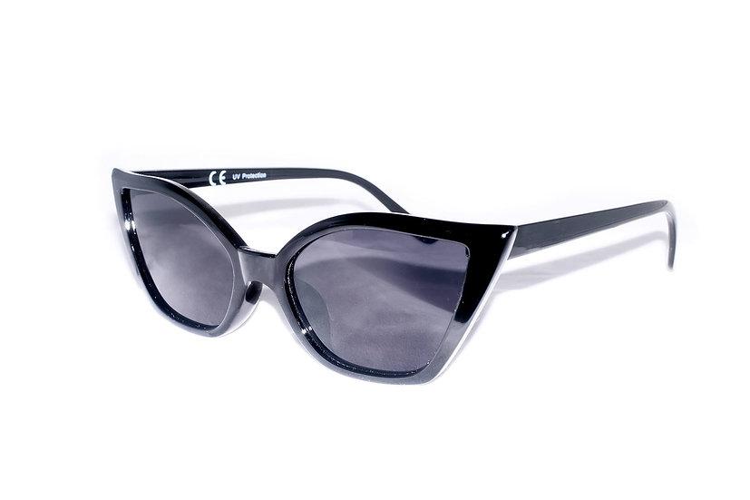 Rare Big Round EyeCat Retro Frames 60s sunglasses black
