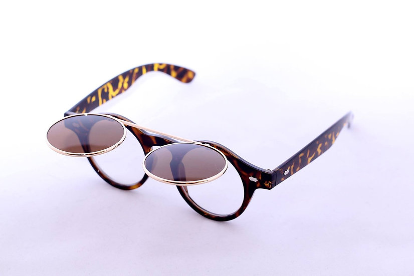 double lens retro flip-up round 80s sunglasses brown