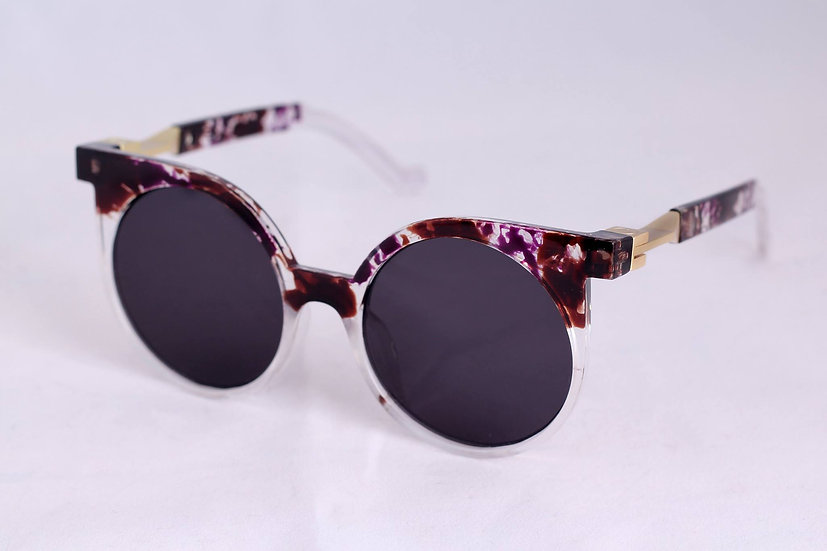 Round Cat eye Woman sunglasses Rare style 70s 80s Violet
