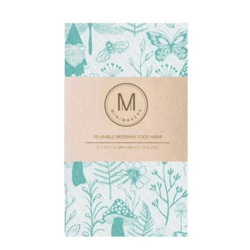 Handmade Beeswax Food wrap by Minimakers - Garden Gnome (L)