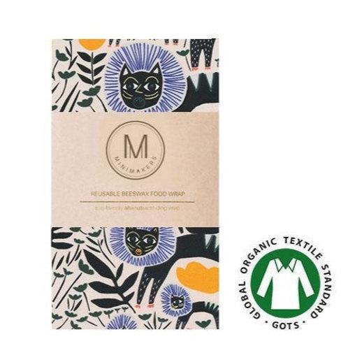 Handmade Beeswax Food wrap by Minimakers - Black Cat (L) Organic