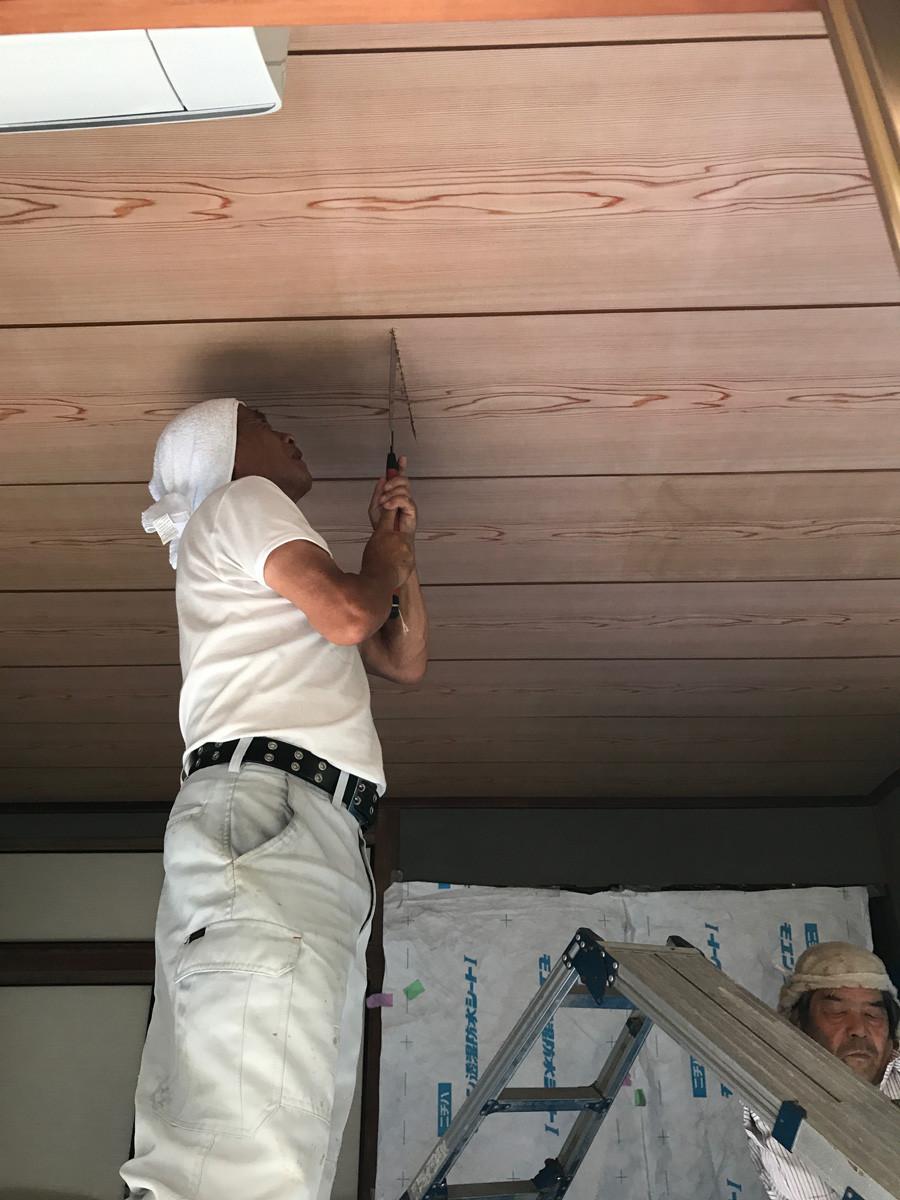天井の施工開始