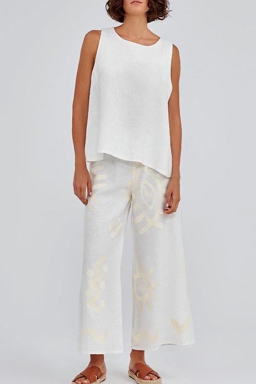 GREEK ARCHAIC KORI - Embroidered Linen Pant