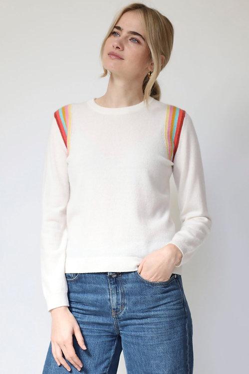 JUMPER 1234 - Stripe Shoulder Cashmere Sweater