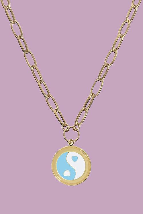 WILHELMINA GARCIA - Gold Blue Yin Yang Necklace