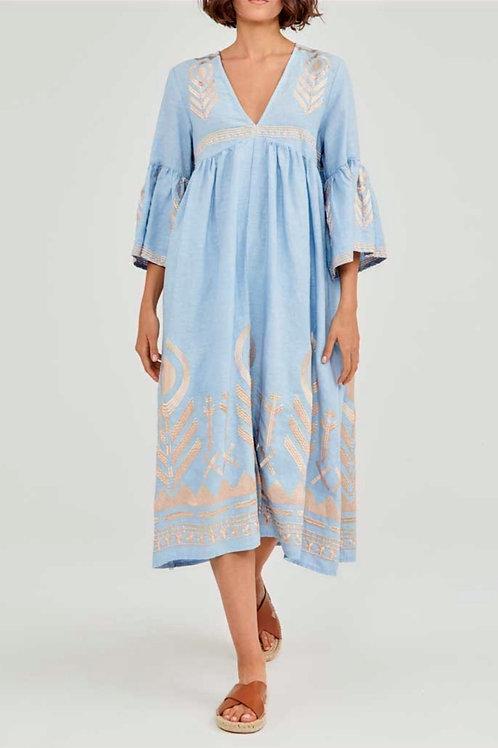 GREEK ARCHAIC KORI - Linen Feather Dress