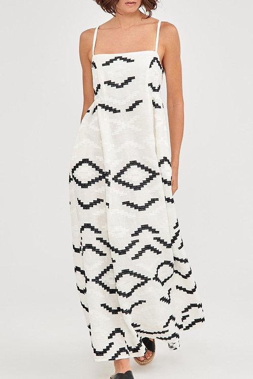 GREEK ARCHAIC KORI - Linen Monochrome Maxi Dress
