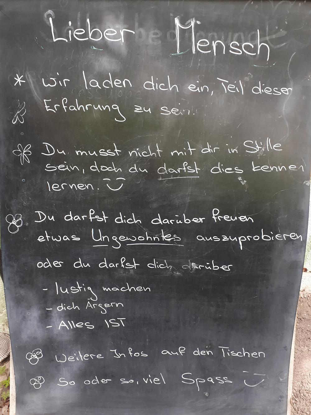 Weltweiter Tag der Stille im Café vom Spirituellen Zentrum Rheinschlucht