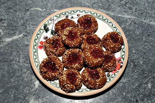 Himbeer-Fingerabdruck-Kekse / glutenfrei, vegan