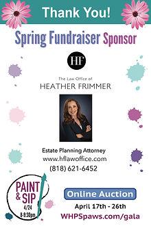Spring Frundraiser Sponsor Heather Frimm
