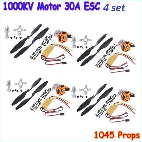 A2212 1000KV BLDC MOTORS, 30AMP ESC'S AND 4 PAIR 1045 PROPELLERS