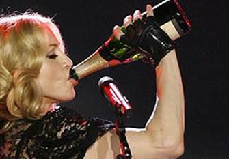 Madonna drinking her cares away