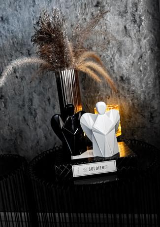 Aniels černý a bílý anděl interier