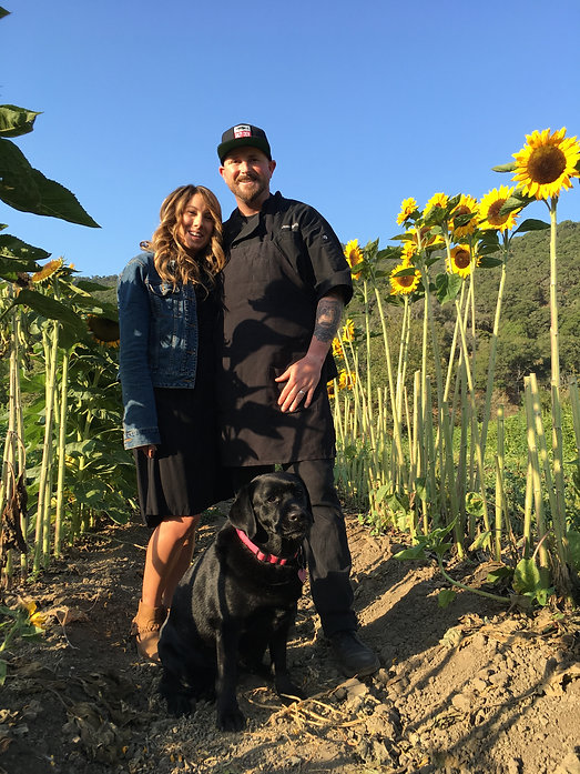 Executive Chef Jesse Smith, owner and operator of The Farmers Guild Catering and Events, Avila Valley Barn Family, Sunfowers, Collette Smith, sommelier, San Luis Obispo