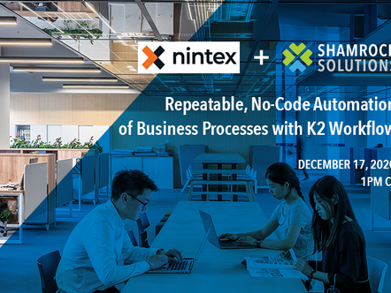 K2 Platform Webinar Series: Repeatable, No-Code Automation of Business Processes with K2 Workflow