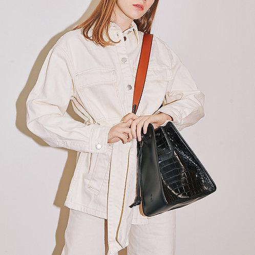 11° Square bag Croc Black - Black [SAMO ONDOH]