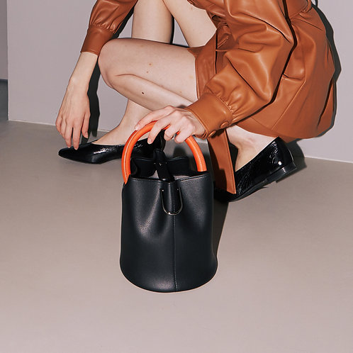 11° Hannah bag - Black with Orange handle [SAMO ONDOH]