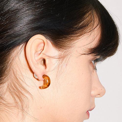 20° Earrings - Brown Hoop and Pearl [SAMO ONDOH]
