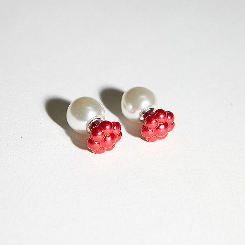 20° Earrings - mini Red Daisy and Pearl [SAMO ONDOH]