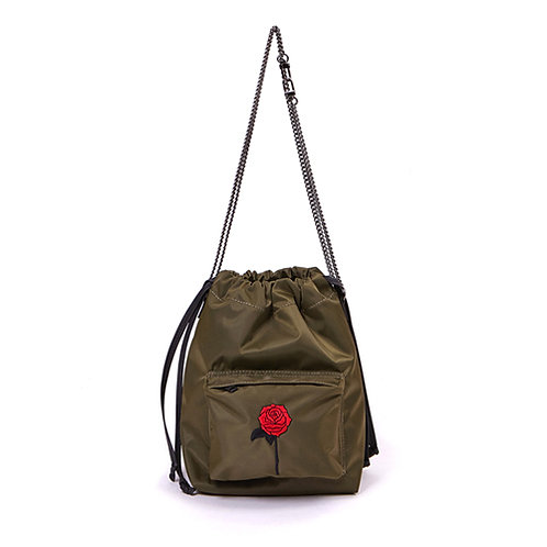 9° Nina bag NYLON KHAKI - BLACK ROSE