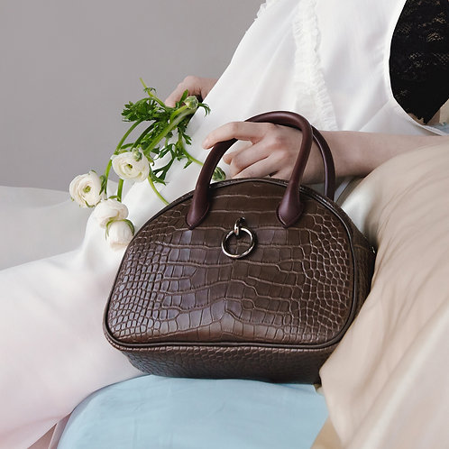 11° Ally bag CROC BROWN WITH WINE HANDLE - ring [SAMO ONDOH]