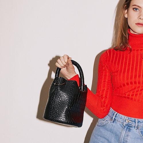 11° Hannah bag - All Croc Black [SAMO ONDOH]