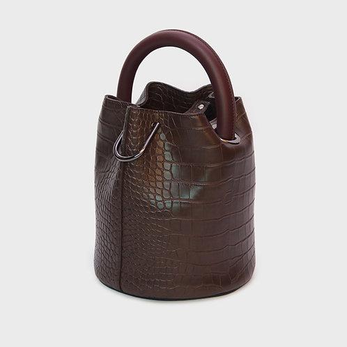 23° Hannah bag - CROC BROWN WITH WINE HANDLE [SAMO ONDOH]
