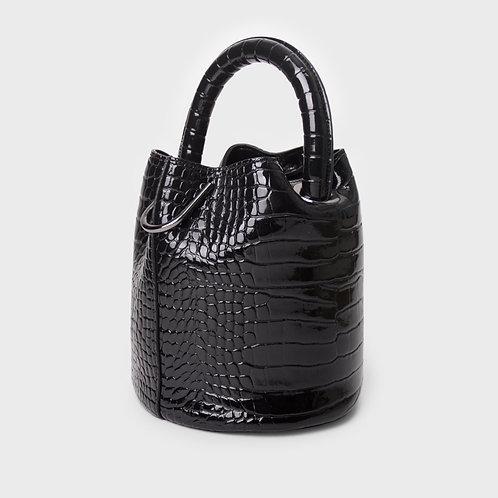 11° Hannah bag - enamel CROC BLACK [SAMO ONDOH]