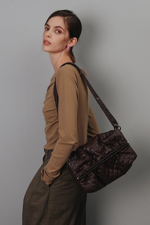 Strap Bun Bag M - Quilting chocolate