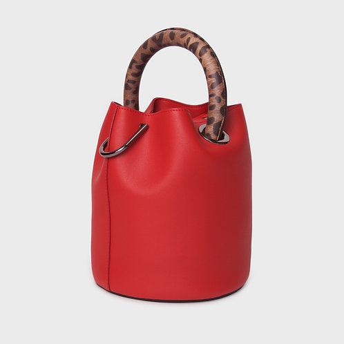 23° Hannah bag - RED WITH LEOPARD BROWN HANDLE [SAMO ONDOH]