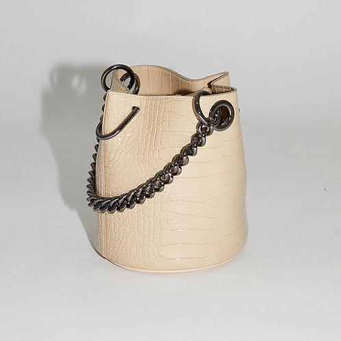 20° Hannah bag enamel Croc Beige with chrome chain [SAMO ONDOH]