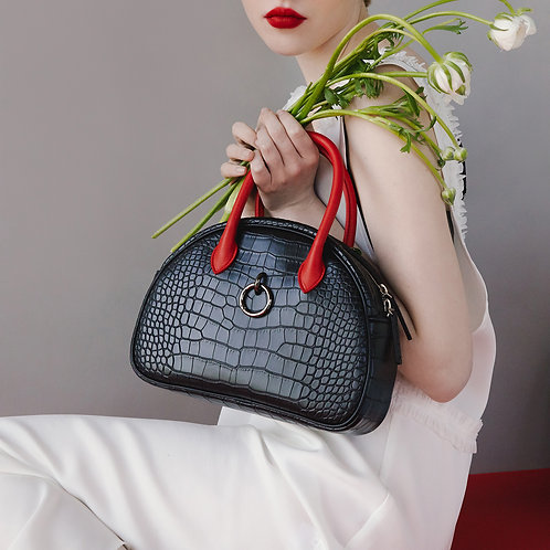 11° Ally bag CROC BLACK WITH RED HANDLE - ring [SAMO ONDOH]