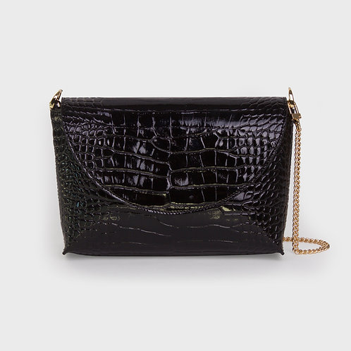 20° Flap bag enamel Croc Black [SAMO ONDOH]
