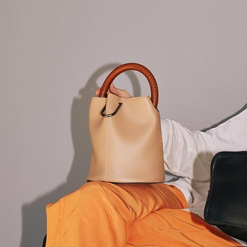 11° Hannah bag - Beige with Croc brown handle [SAMO ONDOH]