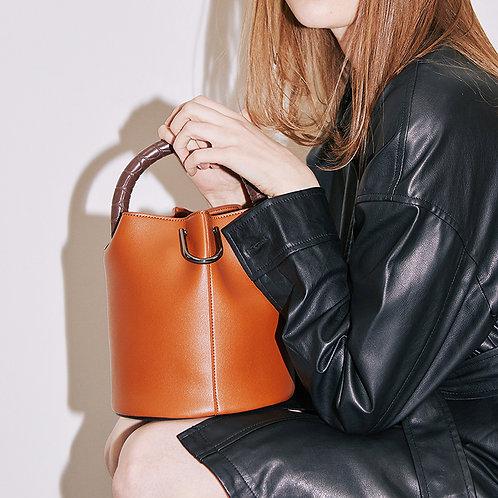 11° Hannah bag - Brown with Croc Brown handle [SAMO ONDOH]