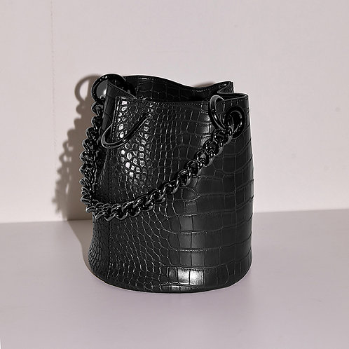 11° Hannah bag Croc Black with chrome chain [SAMO ONDOH]