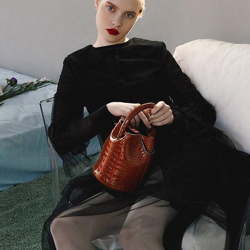 11° Hannah bag - enamel CROC BROWN [SAMO ONDOH]