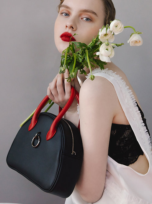 11° Ally bag BLACK WITH RED HANDLE - ring [SAMO ONDOH]