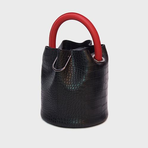 23° Hannah bag - CROC BLACK WITH RED HANDLE [SAMO ONDOH]