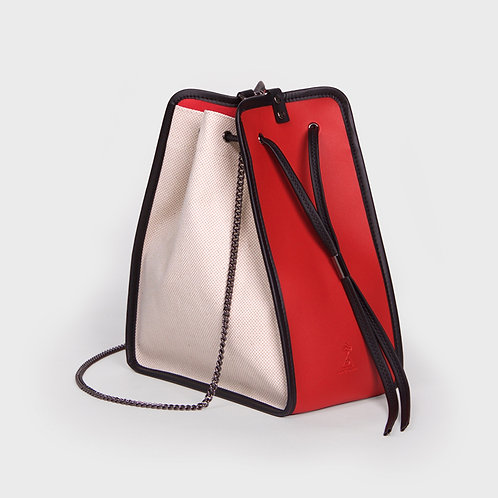 11° Canvas bag IVORY - RED [SAMO ONDOH]