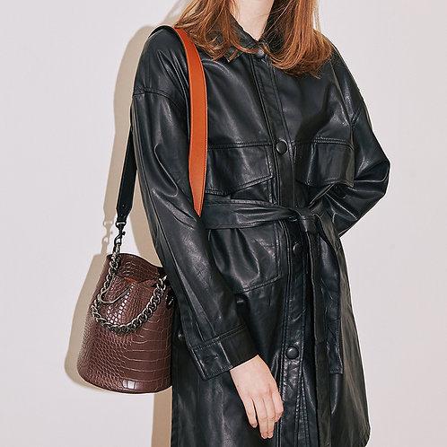 11° Hannah bag Croc Brown with chrome chain [SAMO ONDOH]
