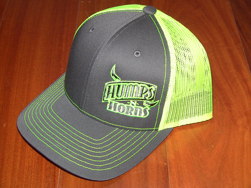 HNH mesh back cap -charcoal/neon yellow