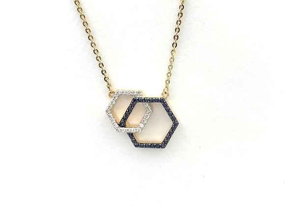 14K YG Black & White Diamond Honeycomb Necklace