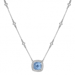 Cushion Blue Topaz Necklace