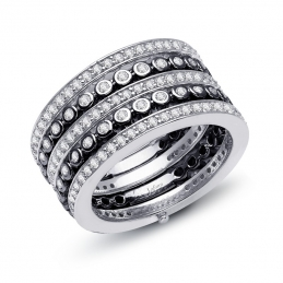 Pave Glam Ring with Black Rhodium