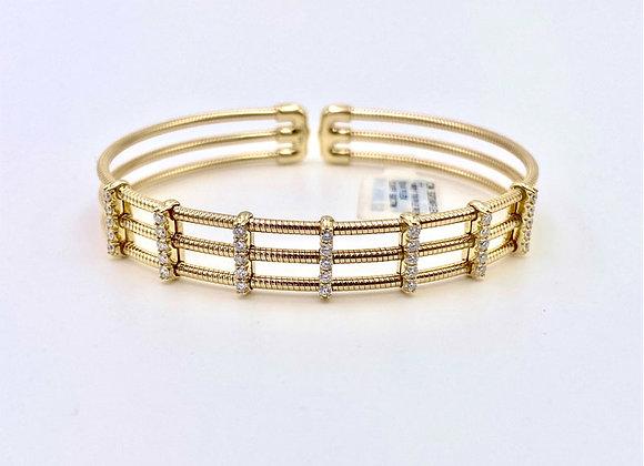 3 Row Diamond Flex Cuff Bracelet