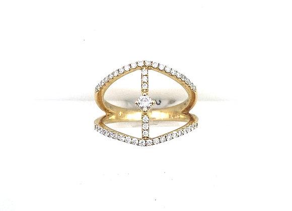 14K YG Open Bar Diamond Ring