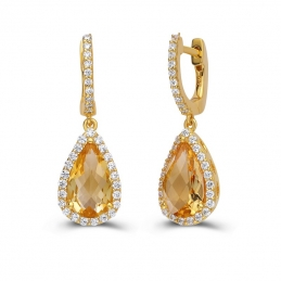 Pear Citrine Earrings