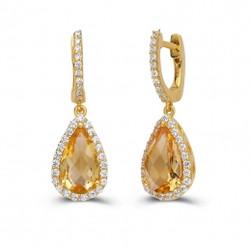 Pear Citrine Earrings