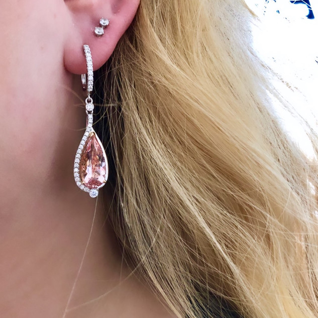 Morganite Teardrop Earrings